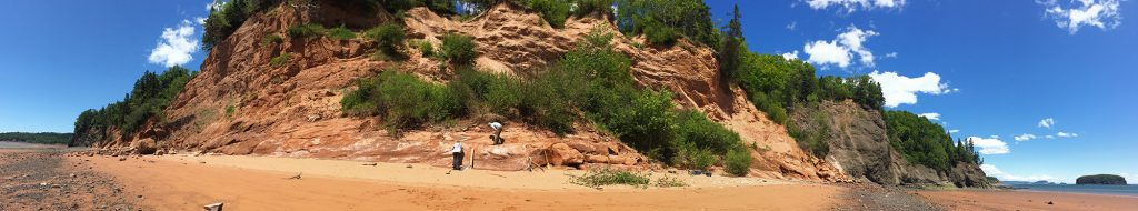 Bay of Fundy fossil research site near Parrsboro, Nova Scotia. Note: The Wasson Bluff site is protected by Special Places Legislation.  Photo Credit: Amy Tizzard.